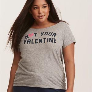 Torrid Grey Not Your Valentine Slub Sleep Tee 1